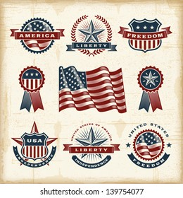 Vintage American labels set. Fully editable EPS10 vector.