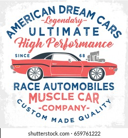 vintage american muscle car illustration, varsity graphics, vectors, typography