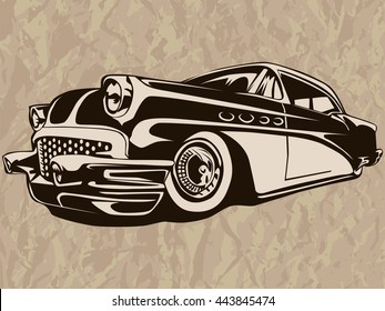 Vintage American muscle car .Old mobile.