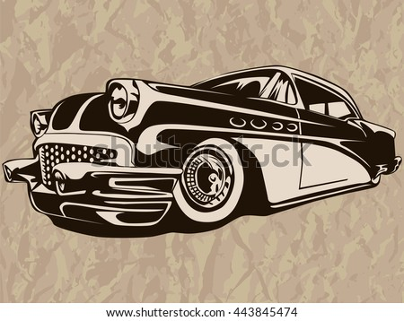 Vintage American Muscle Car Mobile Stock Vector Royalty Free