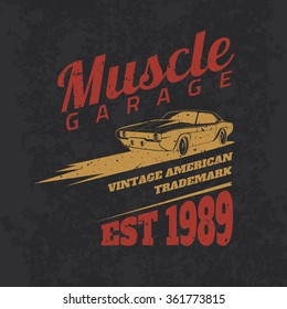 Vintage american muscle car for printing with grunge texture. Vector old school car race poster. T-shirt design. Retro muscle car poster.