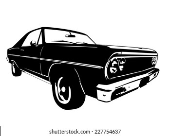 Vintage American Muscle Car Vector Silhouette