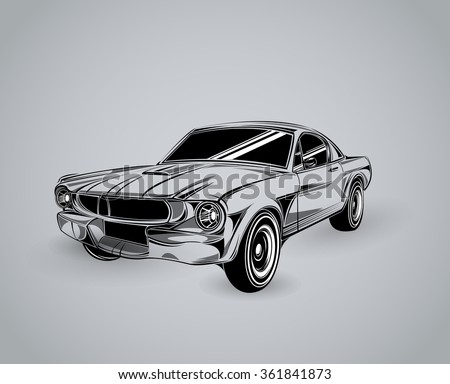 1a410fd5 Vintage American Muscle Car Vector Silhouette. old school car. Muscle car.  Print for poster or t-shirt. Muscle car templates for icons and emblems  isolated ...