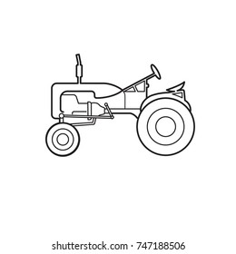 Vintage american tractor vector illustration. Retro agricultural machine line art icon. Old farming equipment