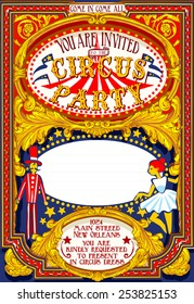 Vintage Amusement Circus game Cabaret Carnival show frame Illustration. Poster Birthday Party Amusement Park. Circus Carnival Birthday Background cabaret character Vintage vector Illustration Poster