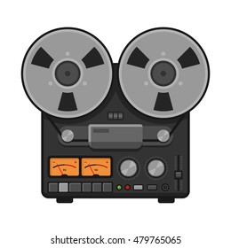 Vintage Analog Stereo Reel Deck Tape Recorder. Vector illustration