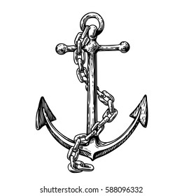Vintage anchor with chain. Hand drawn sketch vector illustration