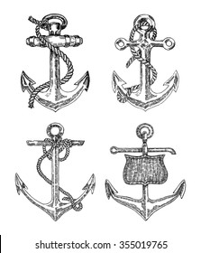 Vintage anchor graphic on white background. Hand drawn vector illustration. Anchors set in vintage style