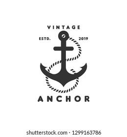 Vintage anchor logo graphic design template vector illustration vector