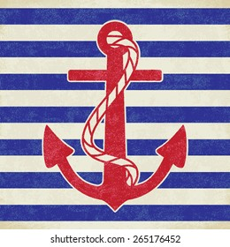 Vintage anchor on white and blue sailor stripes