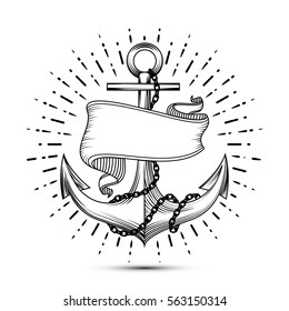 Vintage anchor with ribbon sketch sailor tattoo vector illustration. Sea anchor with chain