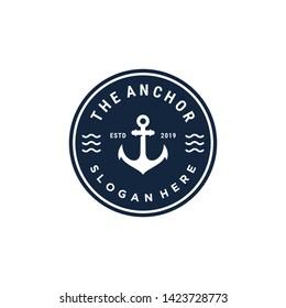 Vintage-Anker, Vektorgrafik-Logo-Design