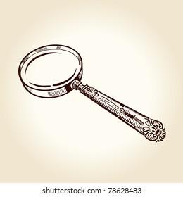 Vintage ancient drawn magnifier. Vector illustration