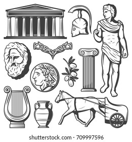 Vintage ancient Greece elements set with greek helmet philosopher face parthenon olive branch column coin chariot vase harp isolated vector illustration