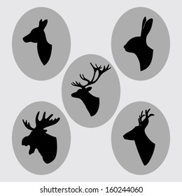 Vintage animals silhouettes, busts