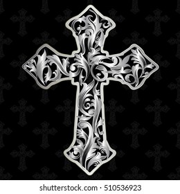 Vintage antique cross. Silver vector cross with decorative silver 3d  leaves and medieval ornaments. Silver cross on the black background.