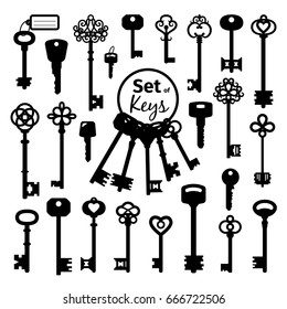 Vintage antique key collection isolated on white background. Vector old victorian keys black silhouettes for doors and cars