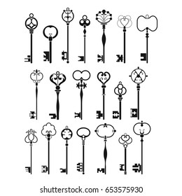 Vintage antique keys, black silhouettes isolated on white background. Vector illustration