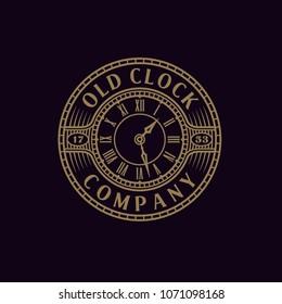 Vintage / Antique Old Clock with Steampunk style for Emblem Logo design inspiration