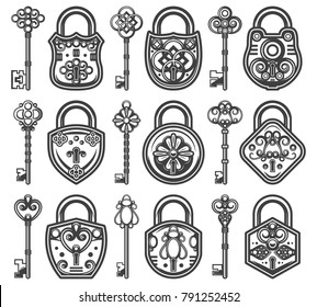 Vintage antique old locks set with different classic keys for each of padlocks isolated vector illustration