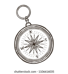 Vintage antique retro style compass isolated on white background vector illustration. Coloring book for adults
