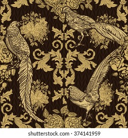 Vintage, antique style background, fashion seamless pattern with birds, pheasants on gold ornamental wallpaper, creative fabric, wrapping paper with floral ornaments, summer, spring theme for design