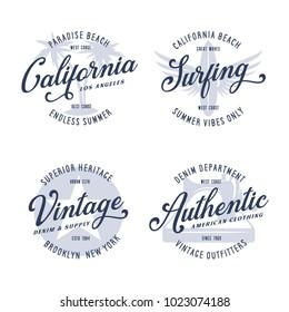 Vintage apparel typography design set. California surfing t-shirt print. Denim american clothing labels. Vector illustration.