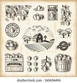 Vintage apple harvest set. EPS10 editable vector illustration with clipping mask.
