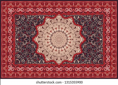 Vintage Arabic pattern. Persian colored carpet. Rich ornament for fabric design, handmade, interior decoration, textiles. Red background.
