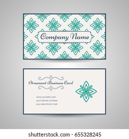 Vintage arabic style business card template. Vector illustration