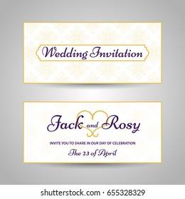 Vintage arabic style pattern wedding invitation. Vector illustration