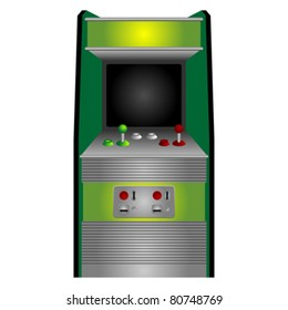 Vintage arcade machine isolated over white background