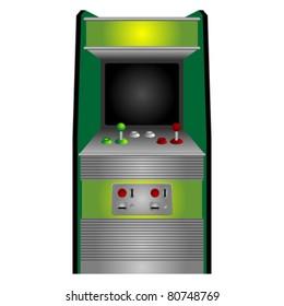 Vintage arcade machine isolated over white background