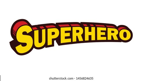 Vintage arched superhero comic book style text typography retro comics vector illustration