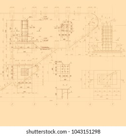 Vintage Architectural Blueprint. Vector background