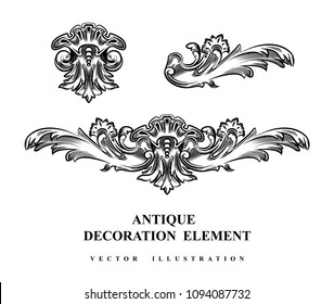 Vintage architectural Decoration elements for design. Vector illustration.