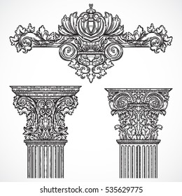 Vintage architectural details design elements. Antique baroque classic style column and cartouche. Hand drawn vector illustration