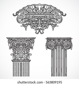Vintage architectural details design elements. Antique baroque classic style column and cartouche in engraving style. Hand drawn vector illustration