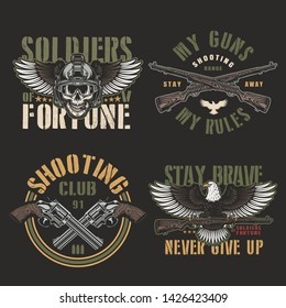 Vintage army and military emblems with skull in modern soldier helmet crossed firearms revolvers and eagle holding carbine rifle isolated vector illustration