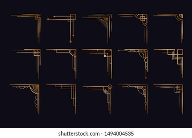 Vintage art deco corner set. Vector golden geometric template in style of 1920s, artdeco corners for borders and frames