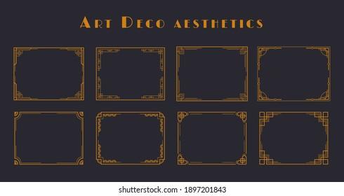 Vintage art deco geometric frames. Golden polyhedron line 1920s aesthetics for wedding invitations, cards. Vector illustration