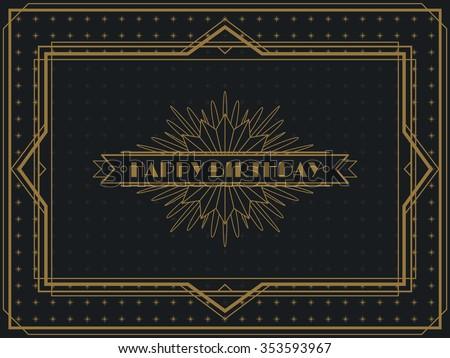 Vintage Art Deco Happy Birthday Card Stock Vector Royalty Free