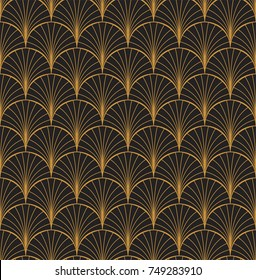 Vintage Art Deco Seamless Pattern. Geometric decorative with circles texture. Retro background.