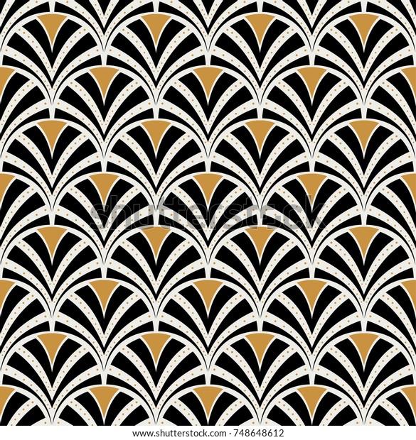 Vintage Art Deco Seamless Pattern. Geometric decorative with circles texture. Retro background.