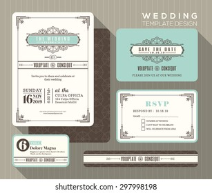 Vintage art deco wedding invitation set design Template Vector place card response card save the date card