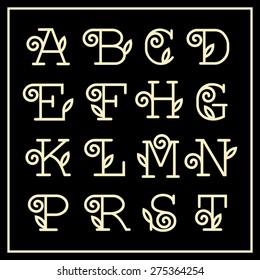 Vintage Art Nouveau floral font for your monograms and logos