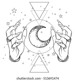 Vintage Astronomy: human hands with space and sacred geometry symbols. Dotwork ink tattoo flash design. Vector illustration isolated on white. Aastrology, alchemy, magic, space and nature symbol set.