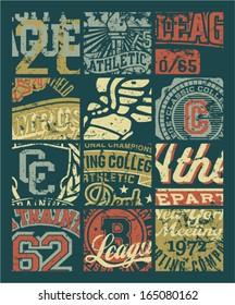 Vintage athletic department  badges patchwork - Grunge vector artwork for boy sportswear in custom colors