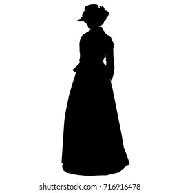 Vintage attractive female silhouette in victorian style. Antique dress, hat with feathers, curly hair, long skirt, jacket, long sleeves. For posters, prints, design, covers, fabric, textile, scrapbook