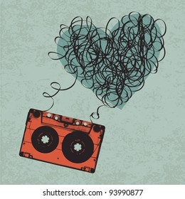 Vintage audio cassette illustration with heart shaped messy tape. Vector, Eps10